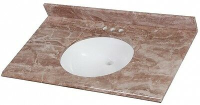 37 In Stone Vanity Top Bathroom Sink Cultured Marble Mayan Ivory W White Basin
