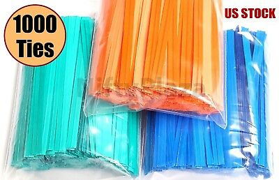 NiftyPlaza 1000 Twist Ties 4 Inch Length Plastic Coated No Rip Paper Ties Cello