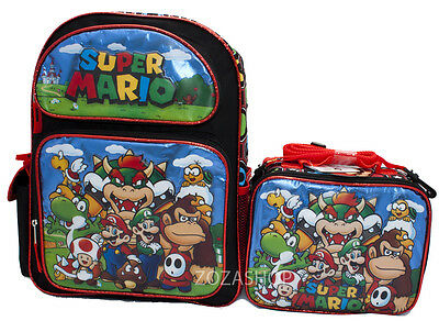 "Super Mario Bros. 16"" School Large Backpack & Lunch Bag 2 pc set NEW!!"