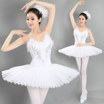 Women's Professional Swan Lake Tutu Ballet Costume Hard Organdy Platter Skirt GH