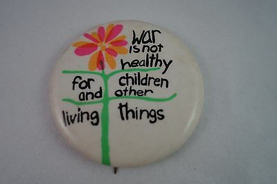 Vintage Nos 1960's Anti-Vietnam - Anti-War - Hippy Peace Protest Button - Pin 2""