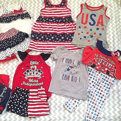 4th Of July Girls Sz 2T Clothing Bundle Outfits Shirts Minnie Mouse Stars Stripe