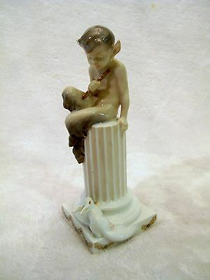 Royal Copenhagen Flute FAUN on Pillar w/Squirrel 456 CHRISTIAN THOMSEN 1924-34