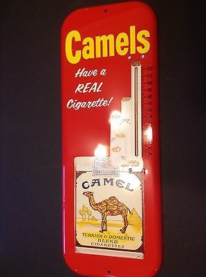 """Vintage Advertising Camels """"have A Real Cigarette!"""" Metal Thermometer,"""