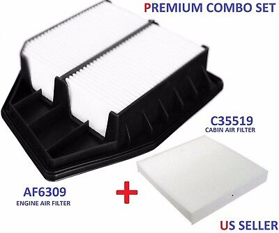 AF6309 Engine + C35519 Cabin Air Filter for Honda 2.4L 4CYL Accord 2008-12