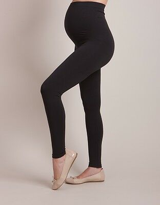 "M2B One Size 27"" Black Maternity Leggings/Thick Footless Tight 10/12/14/16"