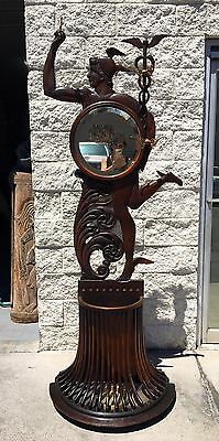 Antique Oak Mercury Figural Hall Tree With Mirror Coat Hooks