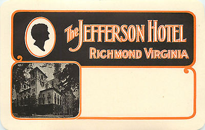 The Jefferson Hotel ~RICHMOND VIRGINIA~ Great Old Mailing / Luggage Label, 1950
