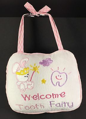 Welcome Tooth Fairy Pillow -Pouch for Tooth-Bunny & Wand- White Pink Gold Purple