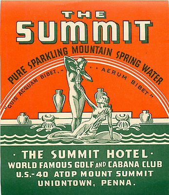 The Summit Hotel ~UNIONTOWN PENNSYLVANIA~ Unique & Artistic Old Luggage Label
