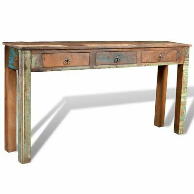B#Reclaimed Wood Side Table with 3 Drawers Vintage-style Console Table Decor