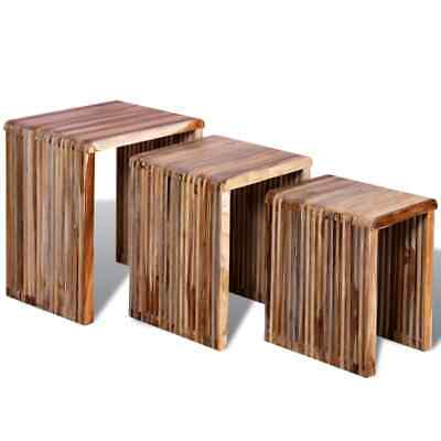 B#Set of 3 Nesting Tables Reclaimed Teak Hand-made Vintage Rustic Furniture