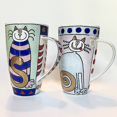 2 Dunoon Jane Brookshaw Large Mugs Bone China Kitsch Katz Cat England Whimsical