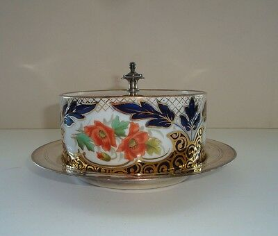 Antique Porcelain Butter Dish And Epnss Lid And Saucer--Made In England