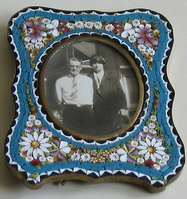 Picture Frame Handcrafted Italian Micro Mosaic Blue Antique