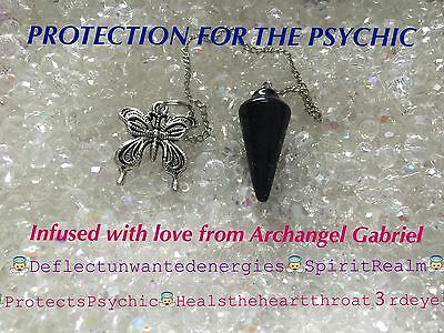 00121 PROTECTION FOR PSYCHIC Blue goldstone Archangel Gabriel Infused Pendulum