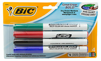 Bic Great Erase Bold Pocket Style Dry Erase Markers, Fine, Assorted, 4/Pk 33065