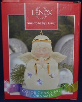 Lenox Color Changing Lit Angel Christmas Ornament Ivory With Gold Trim