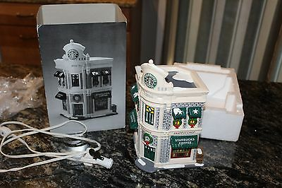 Department 56 Original Snow Village Holiday Starbucks Coffee House Hand Painted