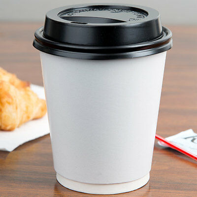 Poly Paper Hot Cup White - 1000 / Case with Lids 8,10, 12 and 16 oz