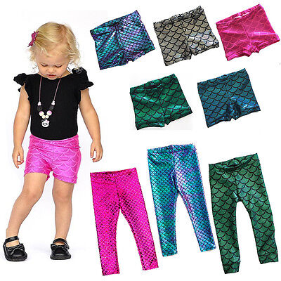 US Stock Summer Kids Baby Girls Fish Scale Mermaid Skinny Leggings Pants Shorts