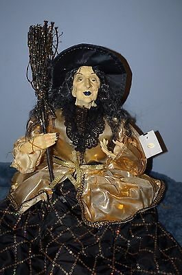"SHELF SITTER WITCH DOLL VICTORIAN HALLOWEEN DECOR 29"" inch ARTISTIC MADE DOLL"