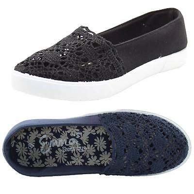 Womens Summer Crochet Flat Pumps Comfy Padded Footbed Slip On Canvas Shoes