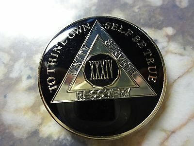 AA Tri-Plate Alcoholics Anonymous Black/Gold Coin 34 Years Chip Token Medallion