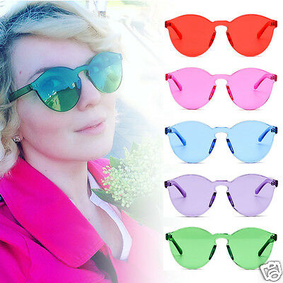 UV400 Women Candy Colors Sunglasses Ladies Tinted Thick Lens Men Rimless Glasses