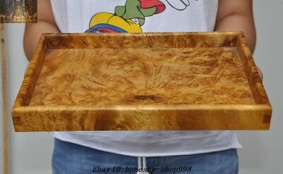 collect Rare Old chinese Gold Nan wood Pure Hand-carved Palace Dish plate Tray