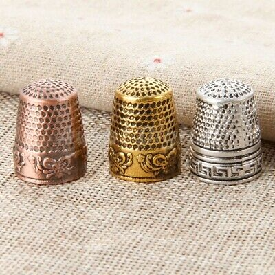 3 Color Hard Metal Sewing Thimbles Finger Protector Hand Needlework Craft Tool