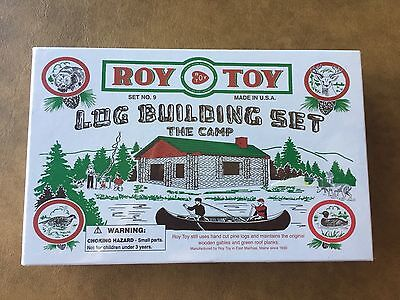 Roy Toy Log Building Set - The Camp - Set #9 - 37 Pine Log Pieces - NEW