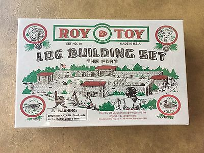Roy Toy Log Building Set - The Fort - Set #10 - 38 Pine Log Pieces - NEW