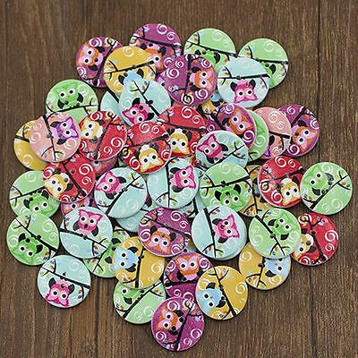 50PCS Decorations Sewing Mixed OWL Wooden Buttons 20mm 2-Holes Scrapbooking