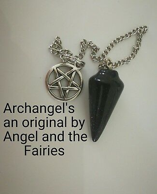 00046 PROTECTION FOR PSYCHIC Blue goldstone Archangel Gabriel Infused Pendulum