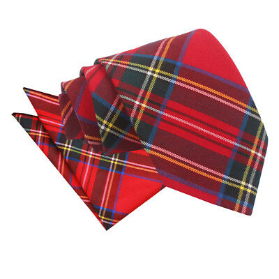 New Dqt Tartan Red Royal Stewart Men's Tie & Hanky Set