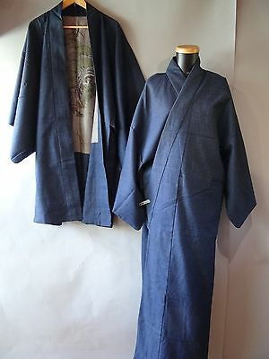 Men's Japanese Wool Kimono & Haori Jacket set Size L Blue k6803