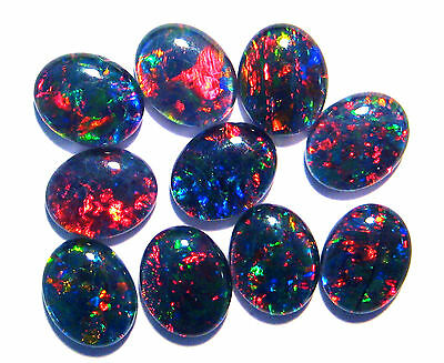 Parcel of 10 Brilliant Multicolour Australian Opal Triplets, A grade, 10x8 mm