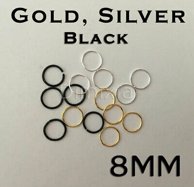 Silver 8 mm Open Jump Rings Split Key Ring Keychain Chain Round Circle DIY 8mm