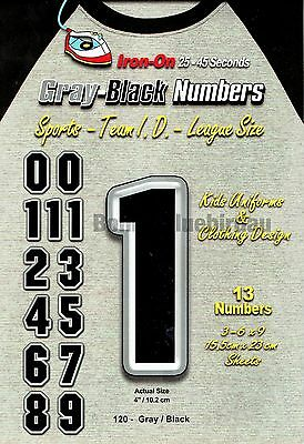 Iron On NUMBERS Black & Grey Team 13 ct Pack 4 inches /10.2 CM Vinyl Transfers