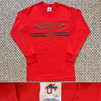 Vintage Vtg 1980s 80s Rare Bootleg Gucci Long Sleeves T Shirt Kids Size 14 - 16