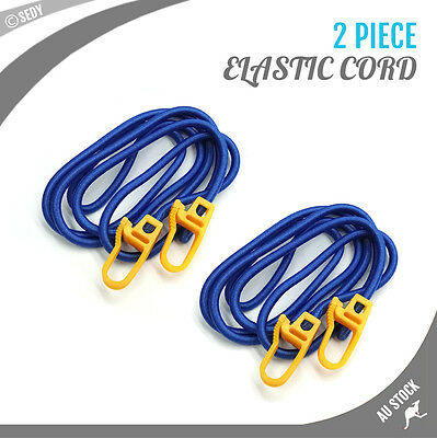 2x 2m Elastic Cord with Hooks Tie Down Bungee Strap Luggage Trailer Motorcycle