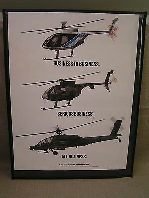 1980'S McDonnell Douglas 18x24 Helicopter Advertising Poster w/AH-64 Apache Rare