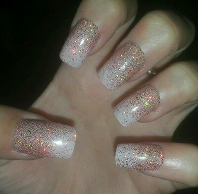 Bespoke Hand Painted Square Full False Nails NUDE WITH HOLO GOLD GLITTER FADE