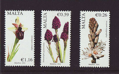 Malta 2016 MNH - Flowers - set of 3 stamps, from corner of sheet