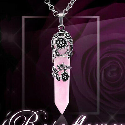 Antique Silver Natural Healing Crystal Rose Quartz Reiki Pendulum Stone Pendant