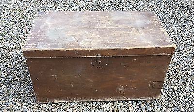 Wooden Storage Chest Box Table For Restoration Large: apx 87.5 x 47 x 51.5 cm
