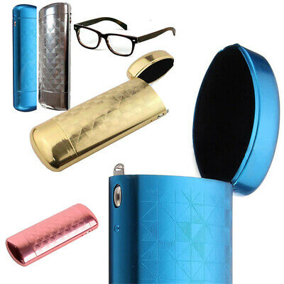 Hard Metal Aluminum Lattice Glasses Capsule Flip Eyeglasses Case Protector