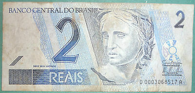 BRAZIL  2 REAIS NOTE FROM 2001, P 249 a, SIGNATURE 39, VERTICAL REVERSE