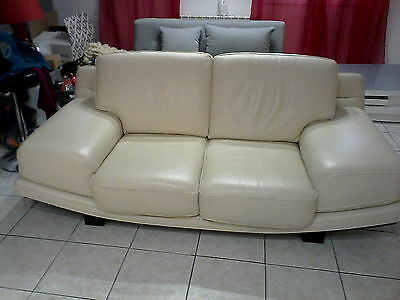 Canape Cuir Beige 2 Places
